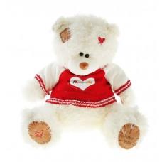 Белый плюшевый мишка i love you в кофточке с сердечком 35 см