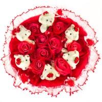 Букет из мягких игрушек с розочками (6 мишек, красный)