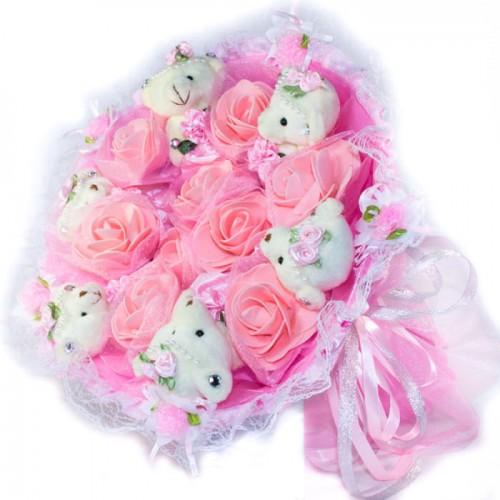 Букет из 6 мишек с цветочками розового цвета