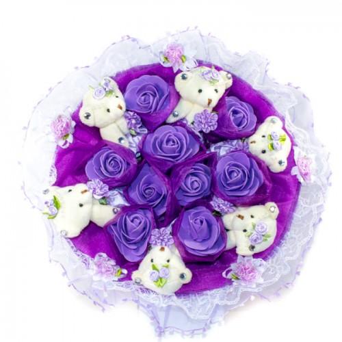 Букет из 6 мишек с цветочками фиолетового цвета