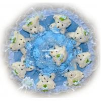 Букет из мягких игрушек с розочками (9 мишек, голубой)