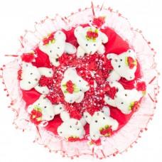 Букет из мягких игрушек с розочками (9 мишек, красный)