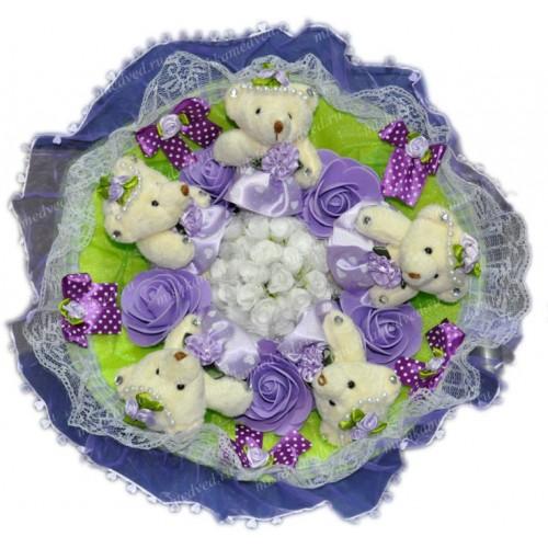 Букет из 5 мягких игрушек фиолетового цвета