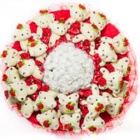Огромный букет из мягких игрушек (25 медведей, красный)