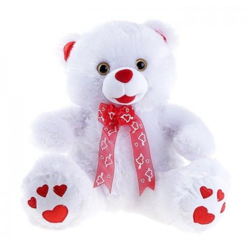 Подарок плюшевый медведь с сердечками на лапках