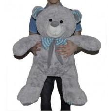 Большая мягкая игрушка серый мишка с бантом 75 см