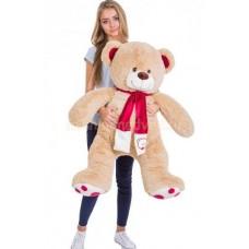 Плюшевый медведь  с шарфом 120см кремовый