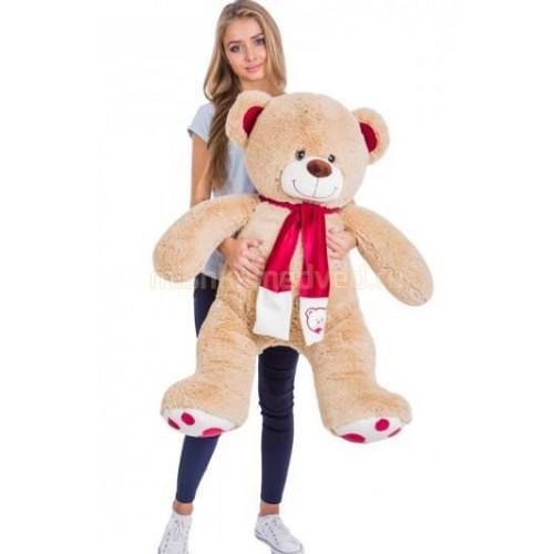 Подарок медведь  с шарфом 120 см кремовый