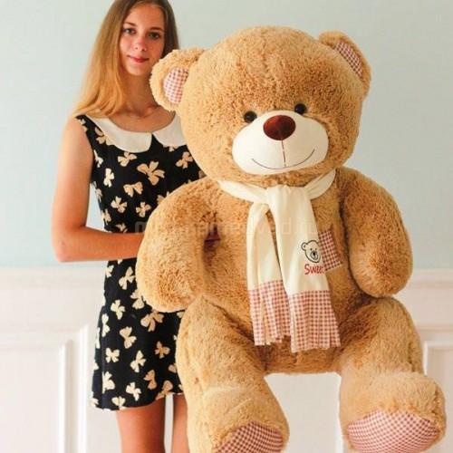 Подарок плюшевый медведь 150 см кремовый