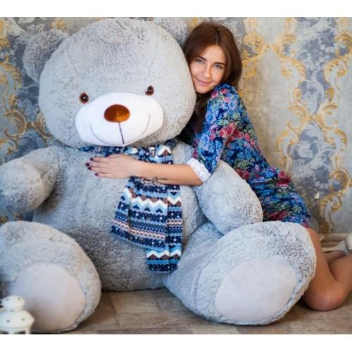 Гигантский плюшевый медведь 170 см серый