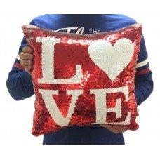 Подушка Love с пайетками